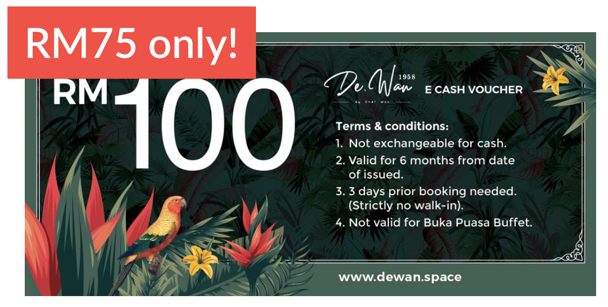 Don't miss out on Chef Wan's delicacies at a DISCOUNTED PRICE!