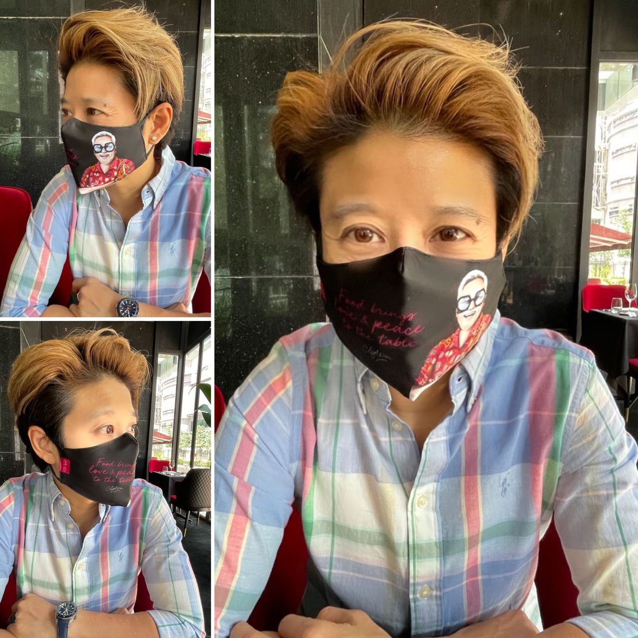 """CHEF WAN """"FOOD BRINGS LOVE & PEACE TO THE TABLE"""" 3-LAYERS STRUCTURE WASHABLE FACE MASK"""